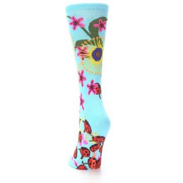 Image of Light Blue Lady Bugs Floral Women's Dress Socks (side-2-back-16)