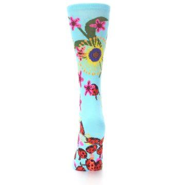 Image of Light Blue Lady Bugs Floral Women's Dress Socks (back-17)