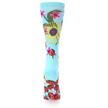 Image of Light Blue Lady Bugs Floral Women's Dress Socks (back-18)