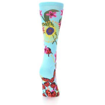 Image of Light Blue Lady Bugs Floral Women's Dress Socks (back-19)