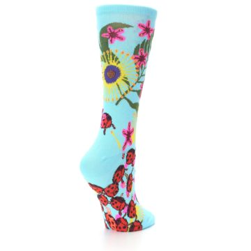 Image of Light Blue Lady Bugs Floral Women's Dress Socks (side-1-back-21)