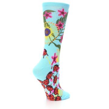 Image of Light Blue Lady Bugs Floral Women's Dress Socks (side-1-back-22)