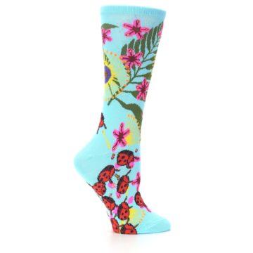 Image of Light Blue Lady Bugs Floral Women's Dress Socks (side-1-24)