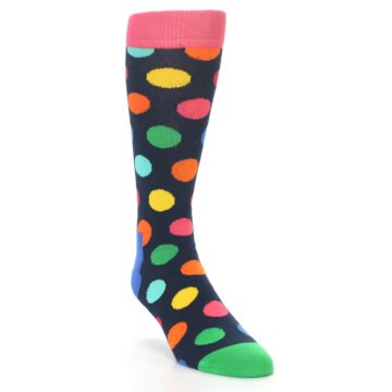 Image of Navy Multi Color Polka Dot Men's Dress Socks (side-1-front-02)