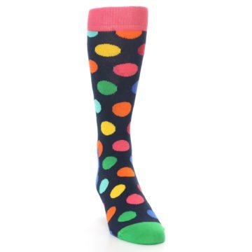 Image of Navy Multi Color Polka Dot Men's Dress Socks (side-1-front-03)