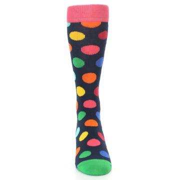 Image of Navy Multi Color Polka Dot Men's Dress Socks (front-04)