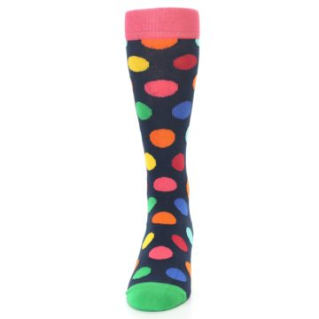 Image of Navy Multi Color Polka Dot Men's Dress Socks (front-05)