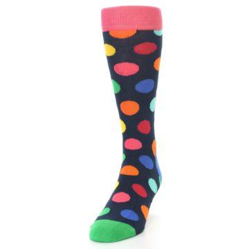 Image of Navy Multi Color Polka Dot Men's Dress Socks (side-2-front-06)