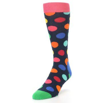 Image of Navy Multi Color Polka Dot Men's Dress Socks (side-2-front-07)