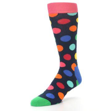 Image of Navy Multi Color Polka Dot Men's Dress Socks (side-2-front-08)