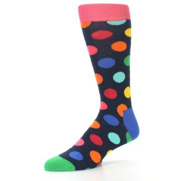 Image of Navy Multi Color Polka Dot Men's Dress Socks (side-2-09)