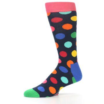 Image of Navy Multi Color Polka Dot Men's Dress Socks (side-2-10)