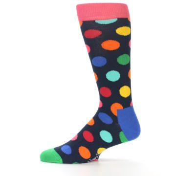 Image of Navy Multi Color Polka Dot Men's Dress Socks (side-2-11)