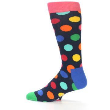 Image of Navy Multi Color Polka Dot Men's Dress Socks (side-2-12)