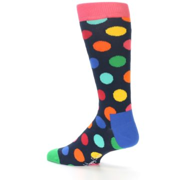 Image of Navy Multi Color Polka Dot Men's Dress Socks (side-2-13)