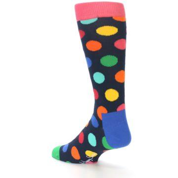 Image of Navy Multi Color Polka Dot Men's Dress Socks (side-2-back-14)