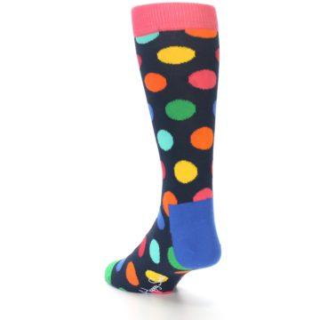 Image of Navy Multi Color Polka Dot Men's Dress Socks (side-2-back-15)