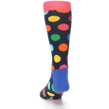 Image of Navy Multi Color Polka Dot Men's Dress Socks (side-2-back-16)