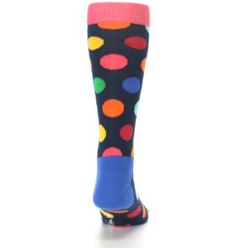 Image of Navy Multi Color Polka Dot Men's Dress Socks (back-18)