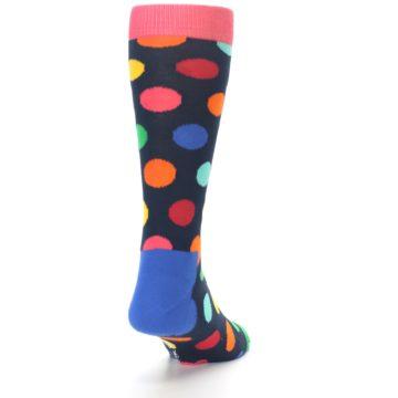 Image of Navy Multi Color Polka Dot Men's Dress Socks (back-19)