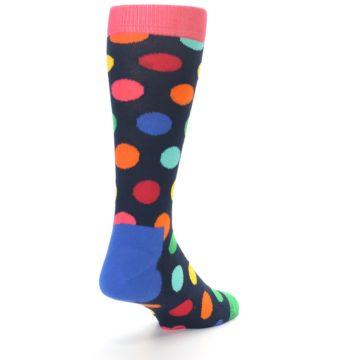 Image of Navy Multi Color Polka Dot Men's Dress Socks (side-1-back-20)