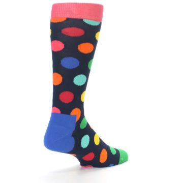 Image of Navy Multi Color Polka Dot Men's Dress Socks (side-1-back-21)