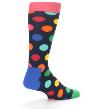 Image of Navy Multi Color Polka Dot Men's Dress Socks (side-1-back-22)