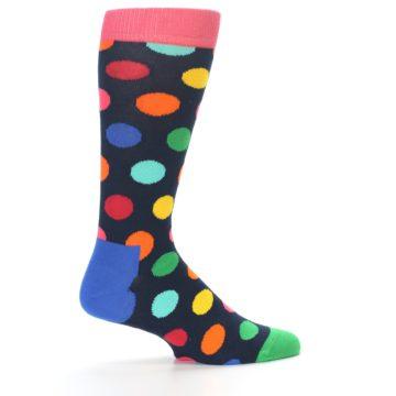 Image of Navy Multi Color Polka Dot Men's Dress Socks (side-1-23)