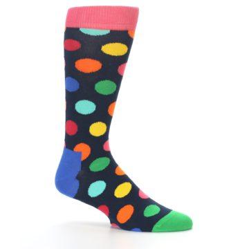 Image of Navy Multi Color Polka Dot Men's Dress Socks (side-1-25)