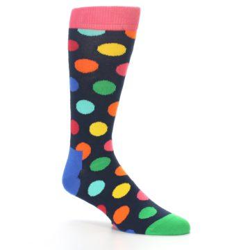Image of Navy Multi Color Polka Dot Men's Dress Socks (side-1-26)