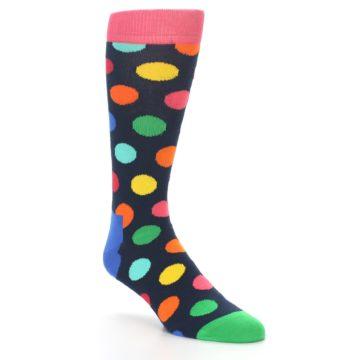 Image of Navy Multi Color Polka Dot Men's Dress Socks (side-1-27)