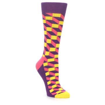 Image of Purple Pink Yellow Optical Women's Dress Socks (side-1-front-01)