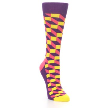 Image of Purple Pink Yellow Optical Women's Dress Socks (side-1-front-02)