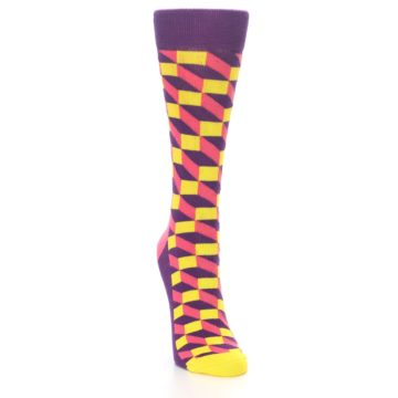 Image of Purple Pink Yellow Optical Women's Dress Socks (side-1-front-03)