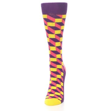 Image of Purple Pink Yellow Optical Women's Dress Socks (side-2-front-06)