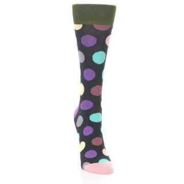 Image of Charcoal Pastel Polka Dot Women's Dress Socks (side-1-front-03)