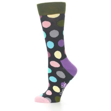 Image of Charcoal Pastel Polka Dot Women's Dress Socks (side-2-11)