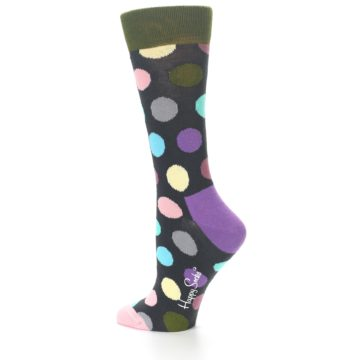 Image of Charcoal Pastel Polka Dot Women's Dress Socks (side-2-13)
