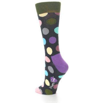 Image of Charcoal Pastel Polka Dot Women's Dress Socks (side-2-back-14)