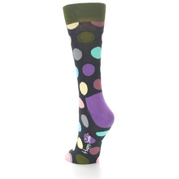 Image of Charcoal Pastel Polka Dot Women's Dress Socks (side-2-back-15)
