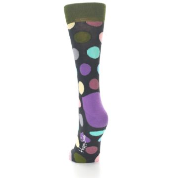 Image of Charcoal Pastel Polka Dot Women's Dress Socks (side-2-back-16)