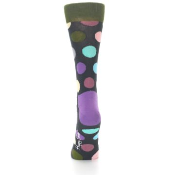 Image of Charcoal Pastel Polka Dot Women's Dress Socks (back-17)