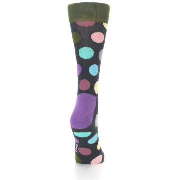 Image of Charcoal Pastel Polka Dot Women's Dress Socks (back-19)