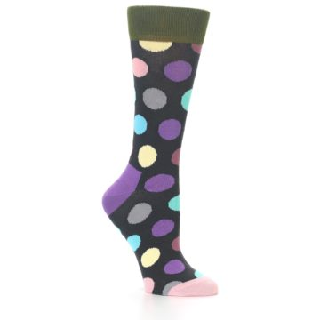 Image of Charcoal Pastel Polka Dot Women's Dress Socks (side-1-26)