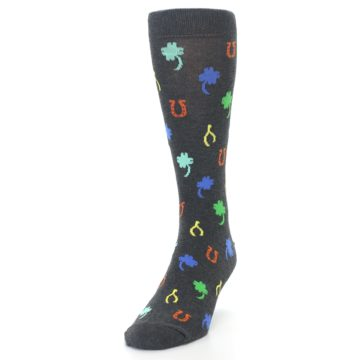Image of Charcoal Multi Lucky Men's Dress Socks (side-2-front-06)
