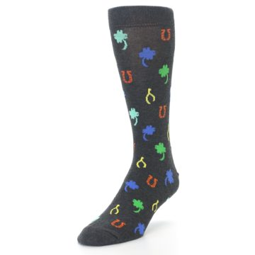 Image of Charcoal Multi Lucky Men's Dress Socks (side-2-front-07)