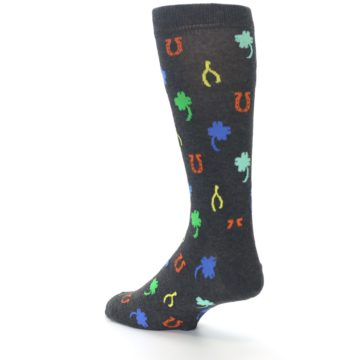 Image of Charcoal Multi Lucky Men's Dress Socks (side-2-back-14)