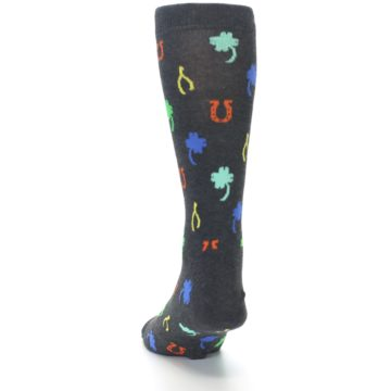 Image of Charcoal Multi Lucky Men's Dress Socks (side-2-back-16)