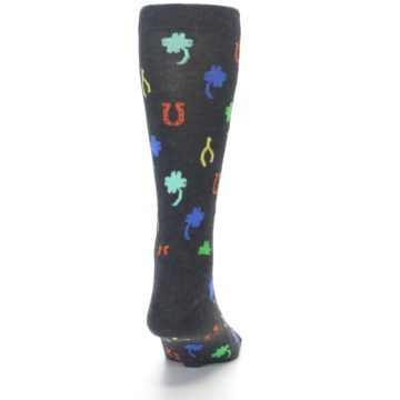 Image of Charcoal Multi Lucky Men's Dress Socks (back-18)
