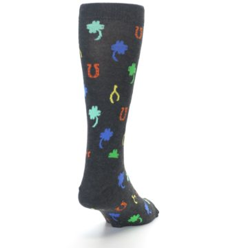 Image of Charcoal Multi Lucky Men's Dress Socks (back-19)